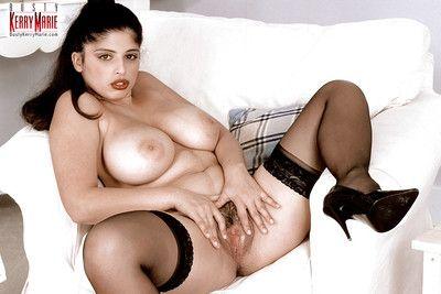 European brown hair Kerry Marie showing off notable pornstar milk shakes in nylons