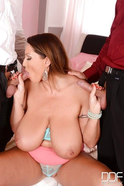 Overweight older Euro lady Laura Orsolya glorious cumshots on huge saggy love muffins