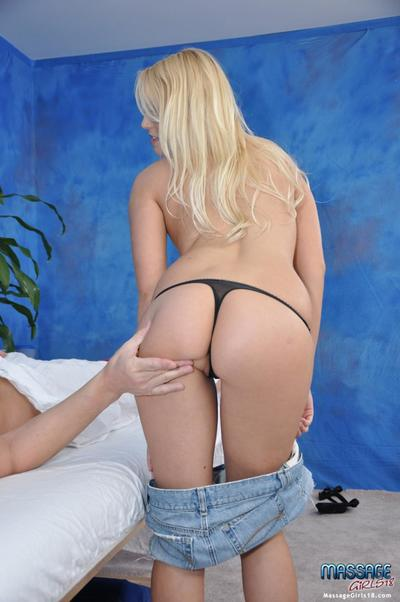 Teenage fair-haired massage girl Vanessa Cage with smooth bawdy cleft and natural milk sacks takes on cock