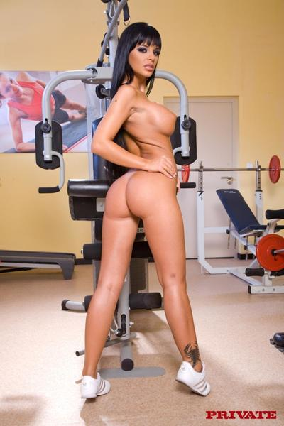Mammoth titted brunette Black Angelica with nice anus takes her clothes off with no her white uniform at the gym