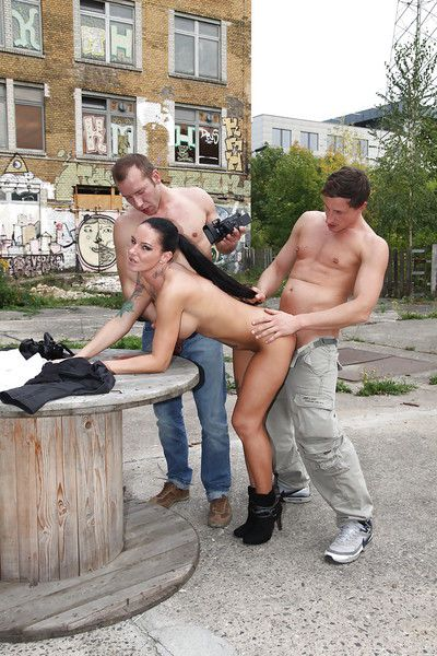 European pornstar Diana Rus engaging hardcore public MMF threesome fucking