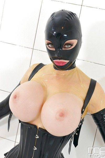 Fetish  Latex Lucy flaunting big MILF wobblers during the time that fucked with dildo