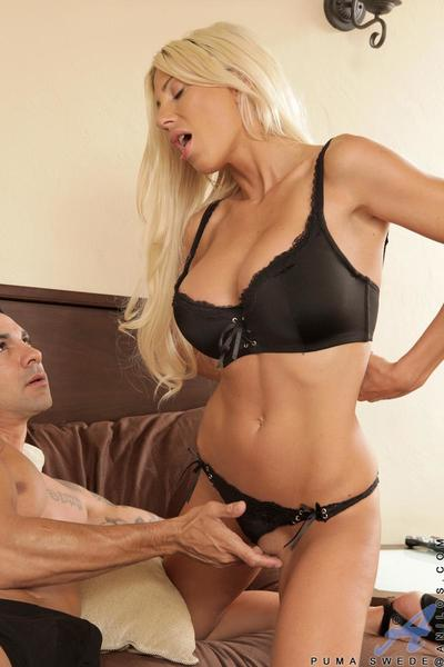 Busty milf Puma Swede furiously riding the dong and getting jizz unleashed on booty