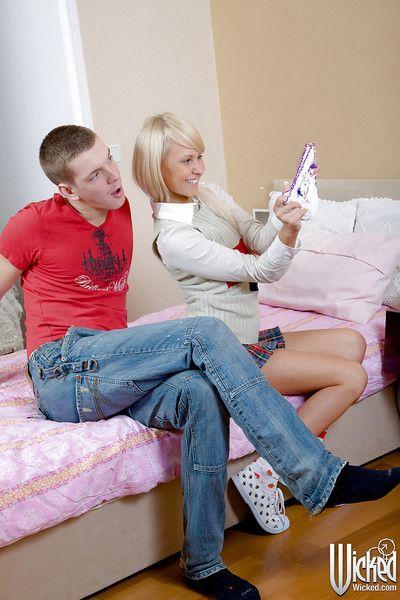 Cum flow scene features golden-haired pornstar Viktoria and her fellow