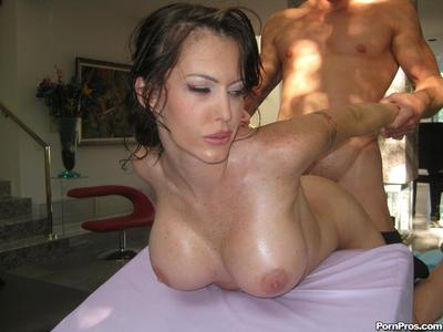 Oiled enormous boobed brunette Jenna Presley purchases hammered after massage in the nude
