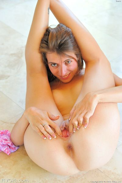 Undersize milk shakes doll posing her clammy twat in one sexual solo session
