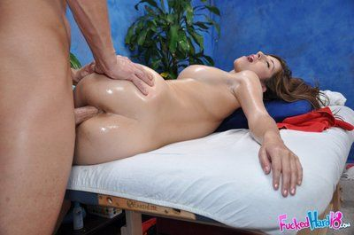 Angel Karina White receives her oiled bald pussy stuffed later unforgettable massage