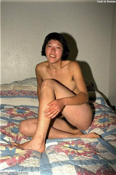 Amateur slant-eyed model Amanda shows hair all over her exposed body