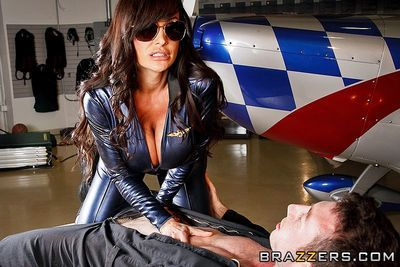Big racked milf in shades Lisa Ann takes off her uniform and gets her fuck orifice filled with ramrod
