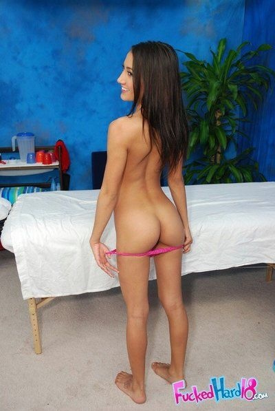 Fixed brunette hair teen Amia Moretti has sex of her lifetime in a massage saloon