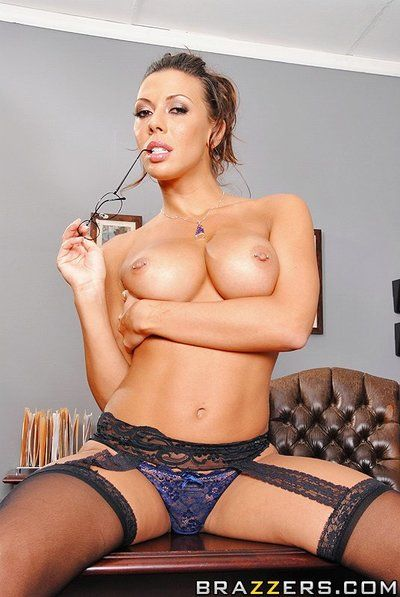 Busty four-eyed woman Rachel Starr in nylons gains owned on her desk at the office