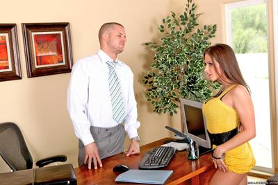 Hot Rachel RoXXX in yellow clothing and swarthy underclothing obtains drilled on a desk