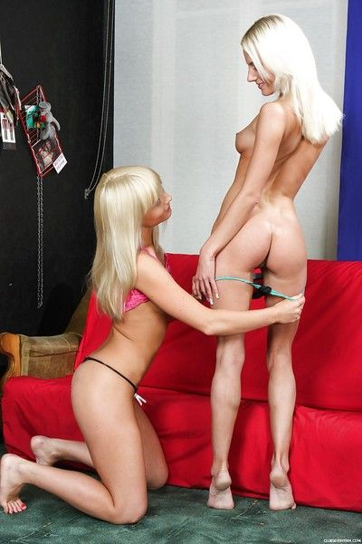 Young blonde Kate R and girlfriend shed underware earlier than eating gentile