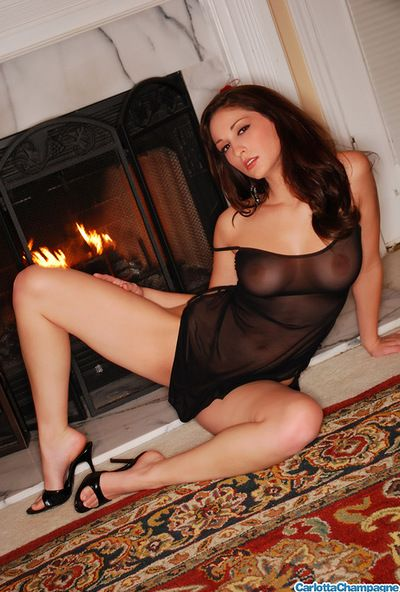 Fabulous and admirable brunette babe with surprising jugs is playing with her mammaries