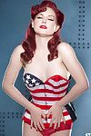 Cute redhead amazes with her slow moves and staggering exposed forms