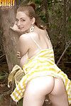 Solo model Christy Marks unleashing brute woman passports outdoors in the woods