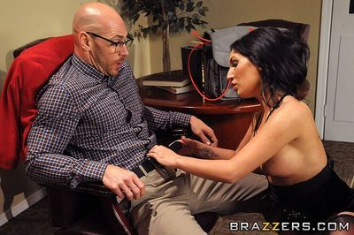 Busty british brunette Emily B in stockings gets her smooth pussy banged by four-eyed guy