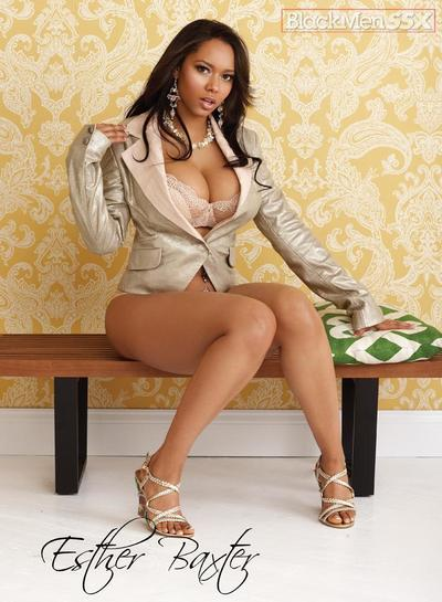 Fabulously beautiful clothed ebony model Esther Baxter shows off her curves
