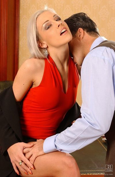 Office blonde Veronica Carso in bright red blouse gets her smooth pussy pounded