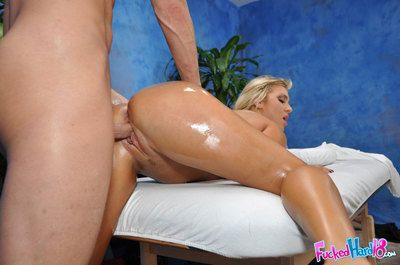 Oiled up blonde Embry Prada is ready for some hardcore action after a massage.