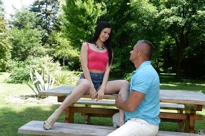 Sensual brunette wuth tiny tits Cassie Right hard anal fucked in the park