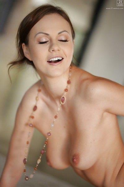 Euro pornstar Tina Kay loosing big natural tits before hardcore fucking