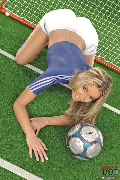 Adorable body art soccer girl Cherry Jul in fake blue and white uniform spreads her legs