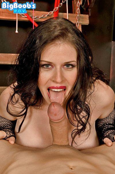 Chesty MILF BDSM enthusiast Daphne Rosen giving titjob in hardcore scene