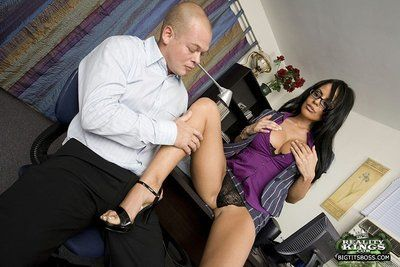 Curvy bespectacled office brunette Mikayla bares her bubble ass and gets doggystyled