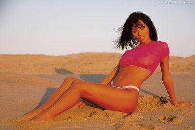 La metà nudo o nudo questo Di lusso Ragazza Anita Bionda guarda Incredibile su il Spiaggia