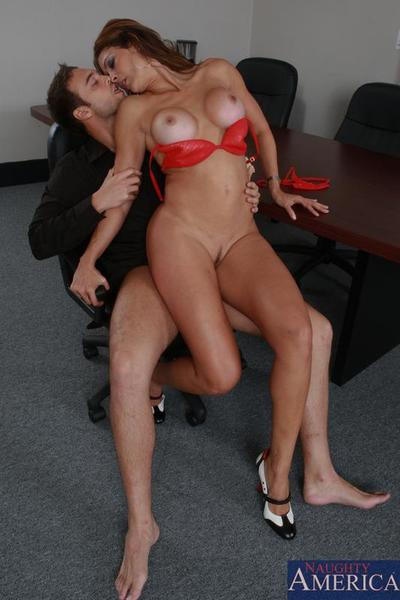 Lustful red haired milf Monique Fuentes has her pussy licked and banged in the office
