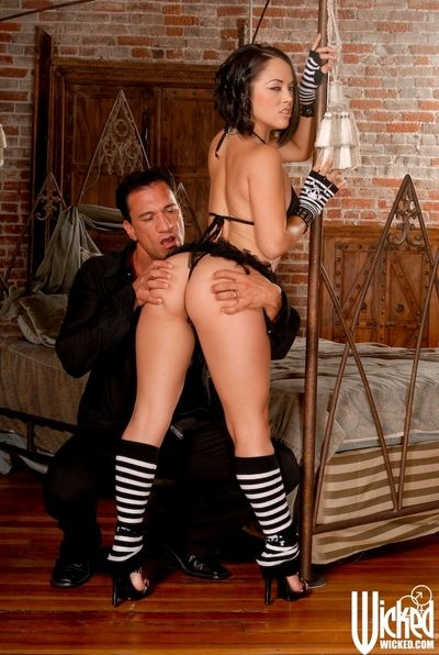 Lusty Kristina Rose in striped stockings rides dick and also deepthroats it