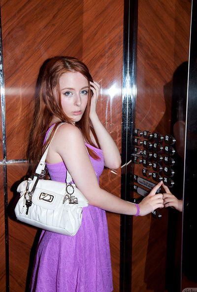 Hottie in purple lingerie gives naughty solo posing scene in outdoor