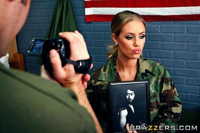 Big meloend military babe in uniform Nicole Aniston rides on top of cock