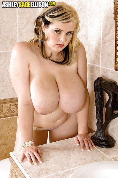Euro babe Ashley Sage Ellison unveiling monster sized pornstar tits in bath