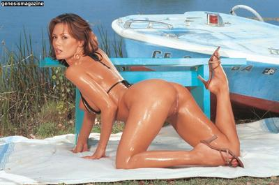 Wet bikini babe Crissy Moran penetrates her shaved pussy with dildo and finger