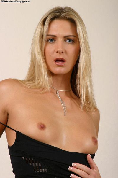 Long haired skinny blonde Ashley Long gets naked and opens her adorable slim legs