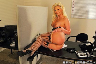 Curvy big titted milf blonde Phoenix Marie in sexy stockings gets nailed at the office