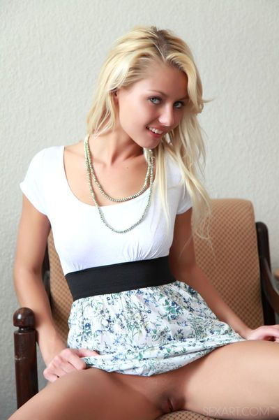 Long legged hot teen Grace C shows naked upskirt before toying with dildo