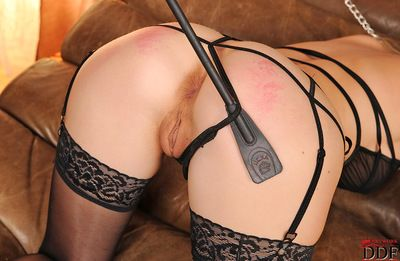 Innocent and sexy blonde in black stockings wants her vulgar brunette to punish her butt