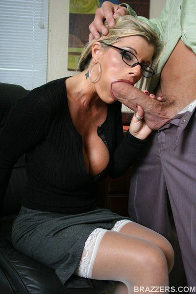 Stylish spectacled office dish Kristal Summers in sexy stockings fucked good and raw