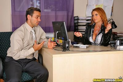 Office redhead Janet Mason gives head to co-worker then asks him to fuck her mature ass