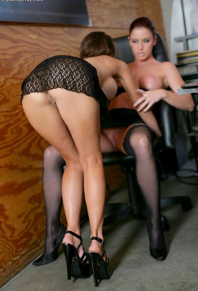 Slutty babes are getting naughty at work and eager to play with their warm cunts