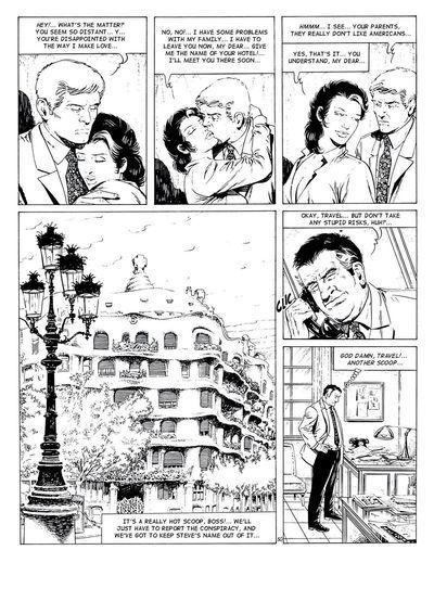 grande de pecho Morena gal en Negro y blanco comics Fotos