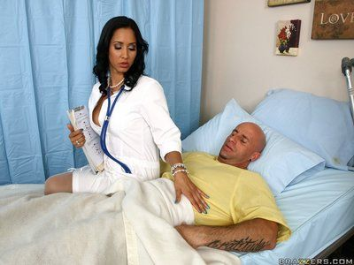 Busty raven doctor Isis Love in white stockings gets hardcored during working hours