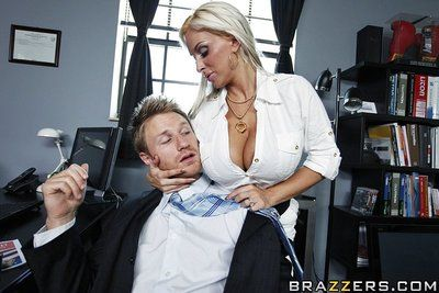 Blonde milf Holly Halston with huge boobs gets her pussy stuffed at the office