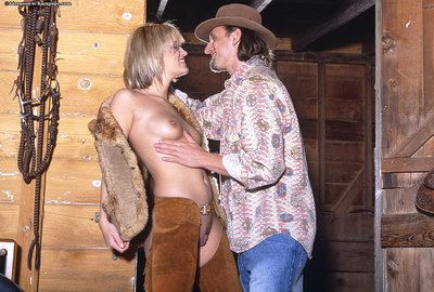 Pierced blonde Kimberly Kane gets her hairless pussy boned by sex hungry cowboy