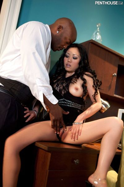 The black guy doesn't let Kaiya Lynn go until she works his cock well and makeы it cum