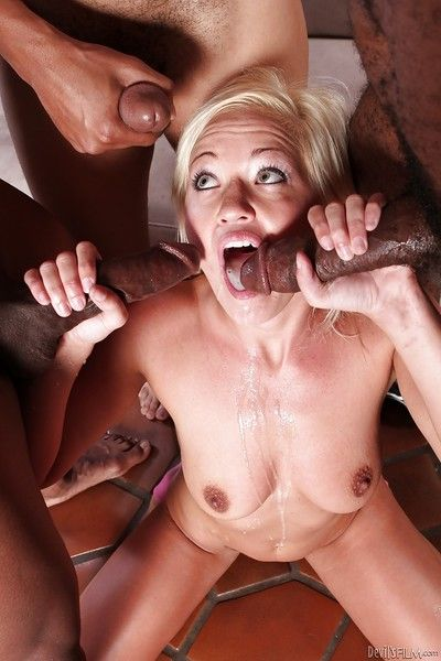 Slutty blonde Whitney Grace is into interracial groupsex with three guys