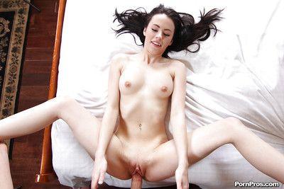Brunette Veronica Radke rubbing jizz into shaved cunt after fucking big cock